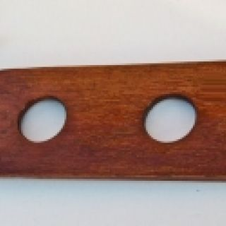 Wide Stained Wood Spanking Paddle with Holes